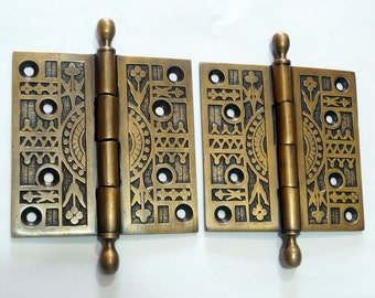 Pair / 2 pcs Antique Vintage Solid Brass Large Door HINGES DECORATIVE & ENGRAVED