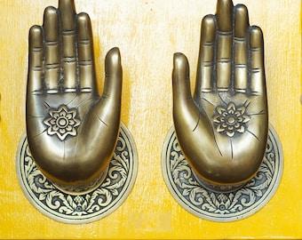 "RARE 6.88"" Pair / 2 pcs BIG Vintage Buddha Bodhisattva Loving Compassionate Hand Door handle Solid Brass Antique Main Gate Door handle AC088"
