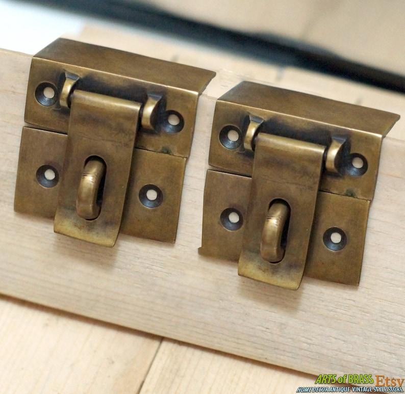 Lot of 2 pcs Vintage Retro Square Flip SAFE Door Box LATCH Antique Solid Brass