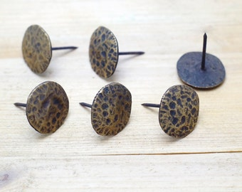 """1.10"""" inches Lot of 6 pcs Vintage Solid Brass Retro wrought Iron Carving STONE Nail / Spike / Thumbtack / Hob Decor AA016"""