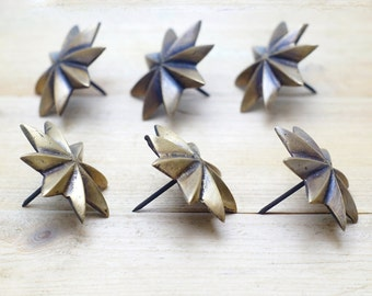 """1.88"""" inches Lot of 6 pcs Vintage Solid Brass Retro WESTERN STAR Nail / Spike / Thumbtack / Hob Decor AA028"""
