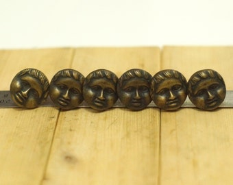 Lot of 6 pcs Vintage Solid Brass Traditional Woman Mature Mother Face Nail / Spike / Thumbtack / Hob Decor