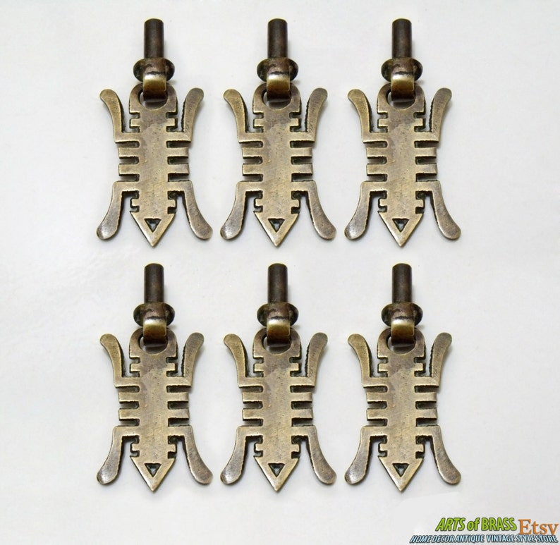 Lot of 6 pcs Vintage STeamPunk Bug ANT Farm Antique Solid Brass Cabinet Handle Pull Vintage Cabinet Knob F.009
