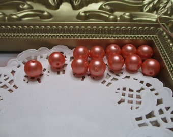 Vintage 10mm Clementine Pearl Round Beads-Costume-Old Stock-Made in Japan