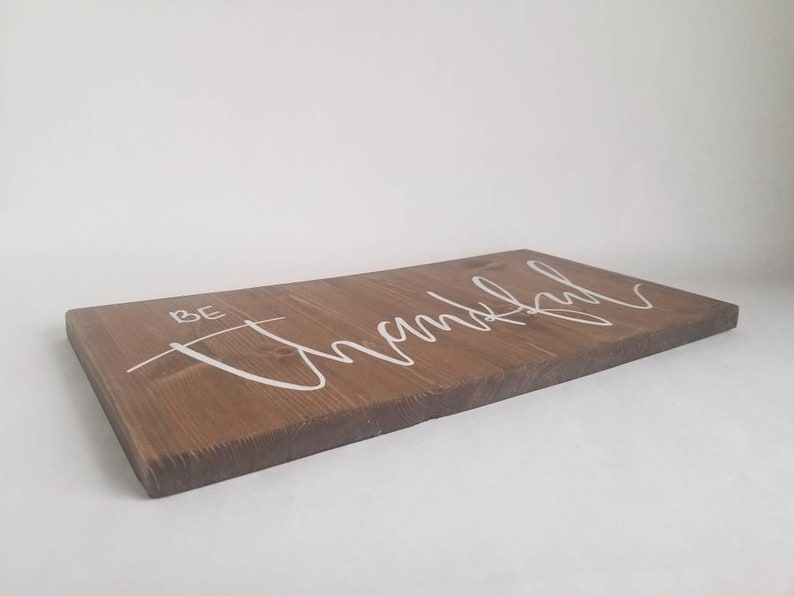 Give Thanks Hanging Wall Sign Hand Lettered Spring Decor Spring Mantel Decor Be Thankful Sign Reclaimed Wood Sign Thankful Sign