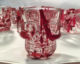 BloodSpattered Handpainted Skull Shot Glass