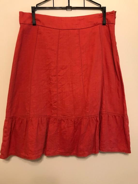 Ruffle Rust Linen Skirt