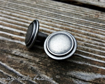 Industrial Farmhouse Dresser Knobs Distressed Silver Rustic Drawer Weathered Cabinet Hardware Decor