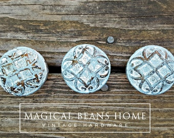 Blue & White Drawer Knobs Coastal Decor Furniture Pulls Distressed Blue Dresser Hardware Beach House Knobs Rustic Drawer Knobs Cabinet Knobs