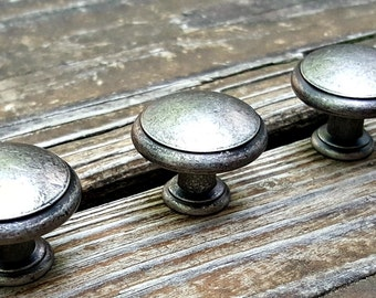 Weathered Silver Drawer Knobs Farmhouse Decor Country Furniture Rustic Cabinet Dresser Hardware