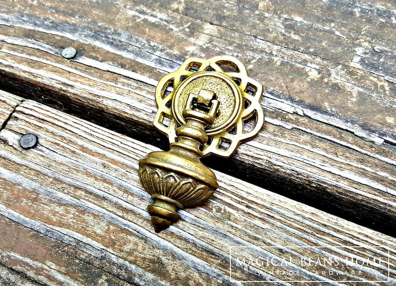 Brass Teardrop Country French Antique Hardware Drawer Pull Vintage Cabinet Knob