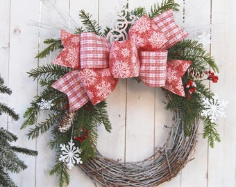 18in red dusted ribbon holidays christmas wreaths holiday wreath christmas decor decoration rustic farmhouse decor - Christmas Wreaths Etsy