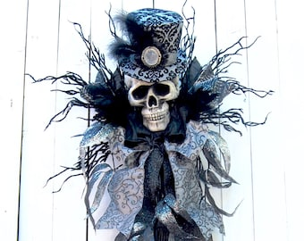 AVAIL JULY 2018   Spooky swag, Halloween swag, Halloween wreath, Baron Samedi, voodoo ,Skeleton Wreath, Halloween decoration, Fall Wreath