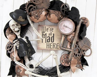 "AVAIL JULY 2018   28"" Steampunk Halloween wreath, Personalize, Skeleton Wreath, Fall Decor, Halloween Decoration"