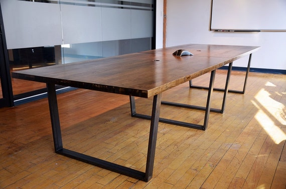 Straight Edge Wooden Boardroom Table Custom Office Furniture Etsy - Wooden boardroom table