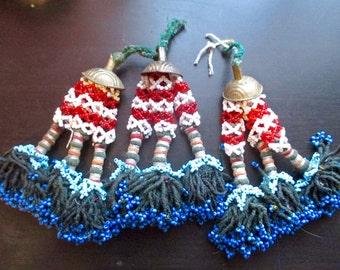 Three Kuchi Beaded Tassels; ATS, Tribal, Belly Dance, Banjara
