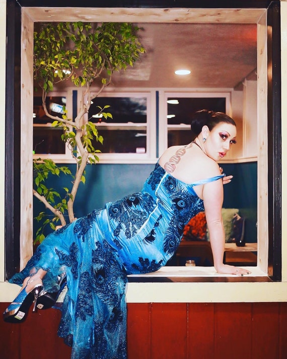 One of a kind peacock teal burlesque prom gown