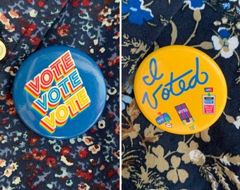 I Voted Button – 2 Pack (Two 1.5 x 1.5 inch Pin Back buttons)