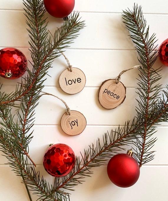 Wood Slice Christmas Ornament Set Peace Love Joy Rustic Etsy