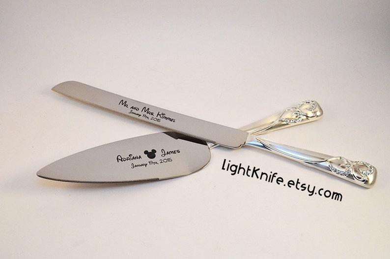 Disney inspired Wedding Black Engraved Wedding Cake Knife and image 0