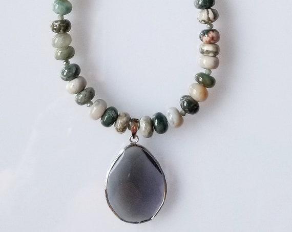 Ocean Jasper Necklace, Jasper Necklace, Green Necklace, Pendant Necklace