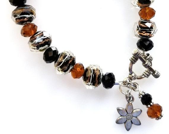 Black, Topaz and Foil Glass Bead Bracelet, Black Bracelet, Topaz Bracelet, Glass Bead Bracelet