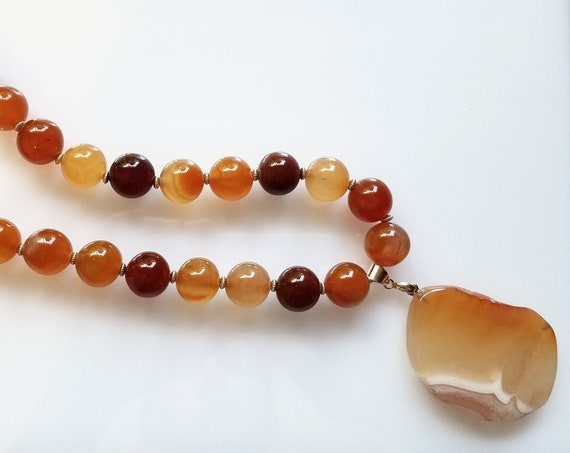 Carnelian Necklace, Chunky Necklace, Orange Necklace, Pendant Necklace