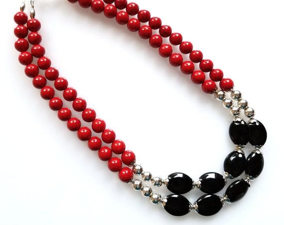 Red and Black Necklace, Red Necklace, Black Necklace, Double-Strand Necklace