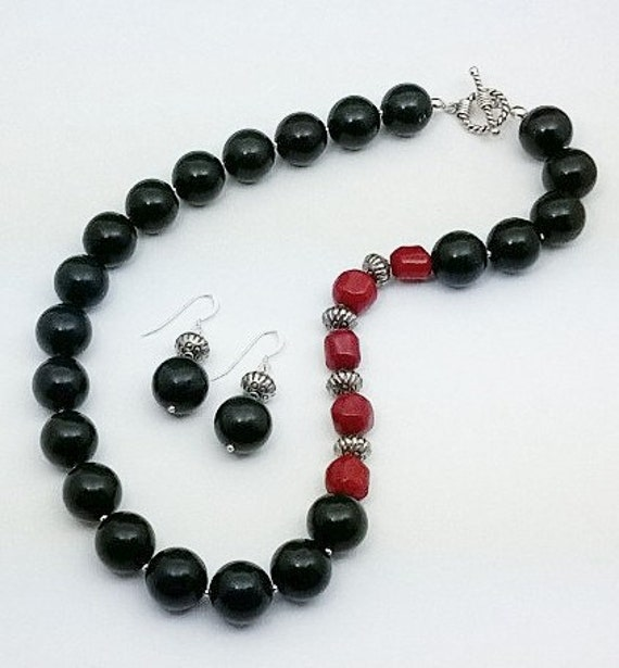 Natural Onyx and Red Coral Necklace & Earrings