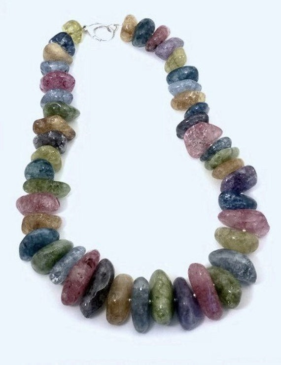 Multi-Color Crackle Quartz Necklace, Quartz Necklace, Multi-Color Necklace