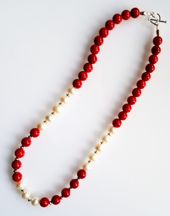 Red Coral Necklace, Coral Necklace, Pearl Necklace, Red Necklace, White Necklace