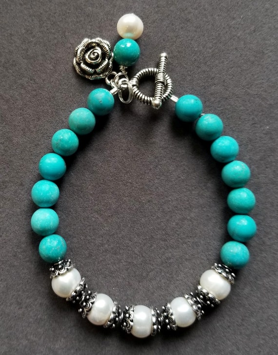 Turquoise and Pearl Bracelet, Turquoise Bracelet, Pearl Bracelet, White Pearl Bracelet