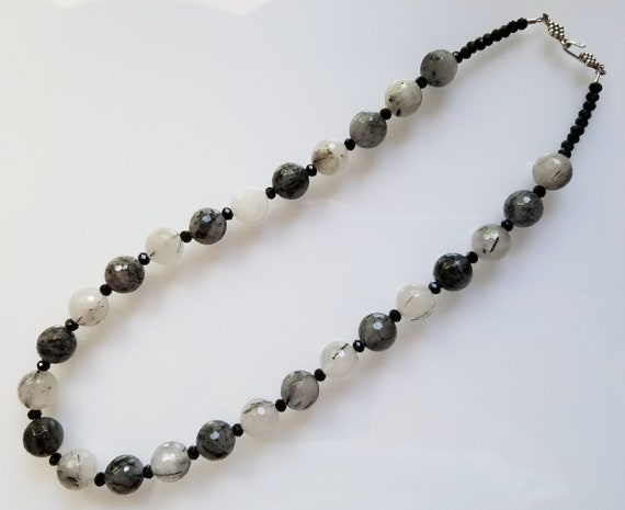 Tourmalated Quartz Necklace, Quartz Necklace, Black Necklace, White Necklace, Black and White Necklace
