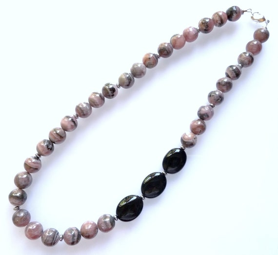 Rhodochrosite Necklace, Onyx Necklace, Black Necklace, Pink Necklace