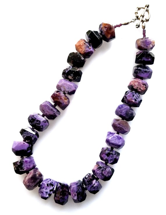 Charoite Necklace, Purple Necklace, Chunky Necklace