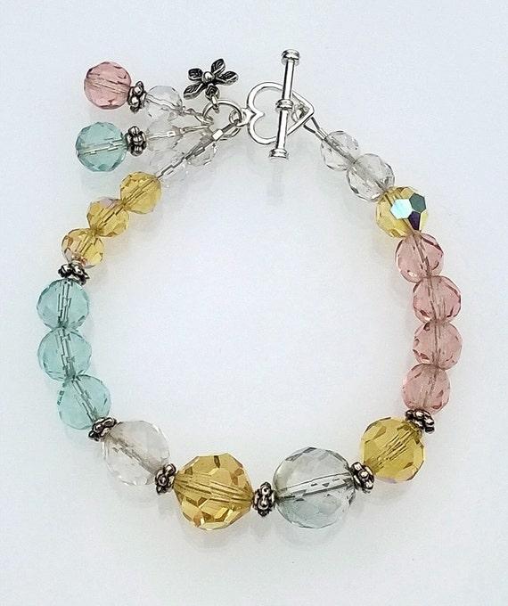 Multi-Color Crystal Bracelet, Pastel Crystal Bracelet, Crystal Bracelet