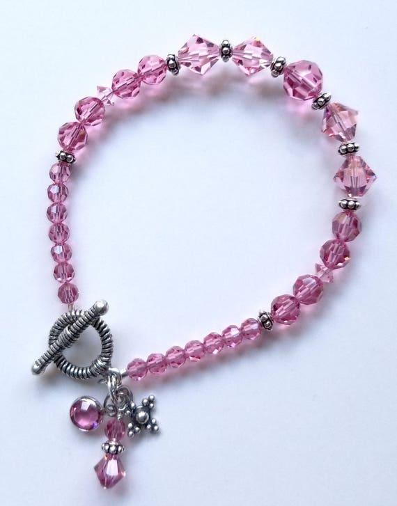 Swarovksi Crystal Bracelet, Crystal Bracelet, Rose Bracelet, Pink Bracelet
