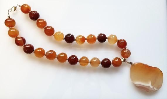 Carnelian Necklace, Chunky Necklace, Orange Necklace, Pendant Necklace