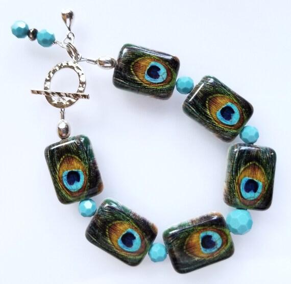 Stone Bracelet, Peacock Bracelet, Multi-Color Bracelet, Turquoise Bracelet, Boho Bracelet