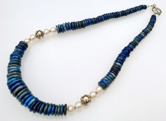 Lapis Necklace, Lapis & Pearl Necklace, Blue Necklace, Pearl Necklace, Lapis Lazuli Necklace