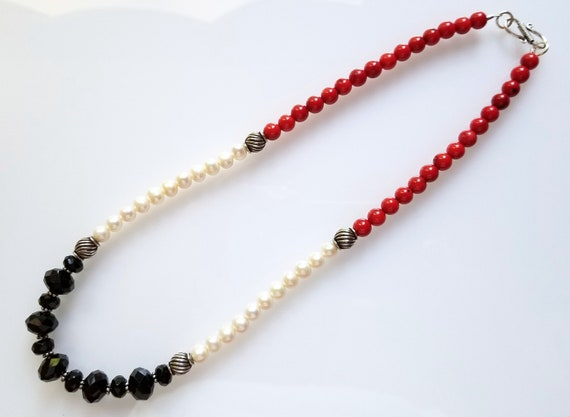 Onyx Necklace, Red Coral Necklace, Pearl Necklace, Red Necklace, Coral Necklace