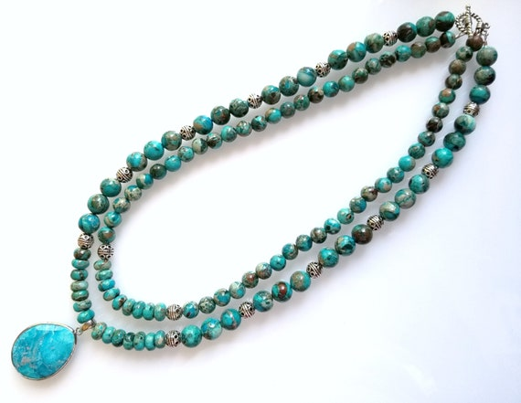 Imperial Jasper Necklace, Jasper Necklace, Turquoise Necklace, Beaded Necklace, Double-Strand Necklace