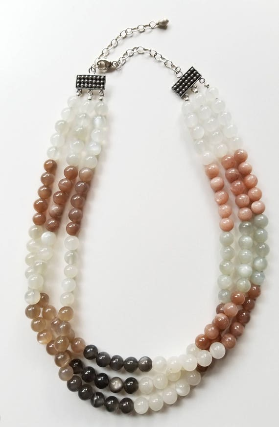 Sunstone Necklace, Beaded Necklace, Multi-Strand Necklace, White Necklace, Statement Necklace