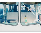 Close Up of Split Windshield of a Camper Van with Hula Girl on the Dashboard 9016266 (20x30 Premium 1000 Piece Jigsaw Puzzle, Made in USA )
