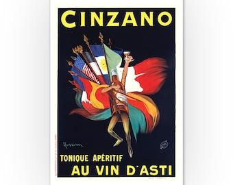 Cinzano Tonique Aperitif Drink Flags USA Italy Vintage Poster Repro FREE S//H