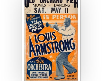 Louis Armstrong INSPIRED WALL ART Print Poster A4 A3 swing jazz trumpet world