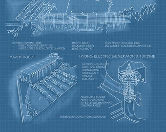 Blueprint art etsy shasta dam california blueprint art prints available in multiple sizes malvernweather Image collections