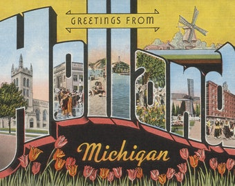 Greeting holland etsy greetings from holland michigan vintage halftone art print multiple sizes available m4hsunfo