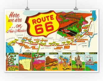 Arizona Route 66 Road Trip United States Retro Travel Advertisement Art Poster