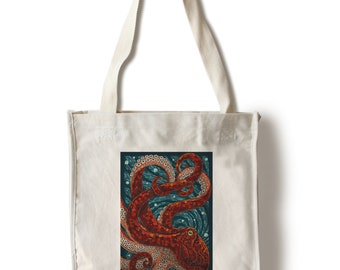 Bag Tote groceries free shipping tote bag-black pattern Octopus print Octopus squid giant art Octopus Octopus tote bag art gift